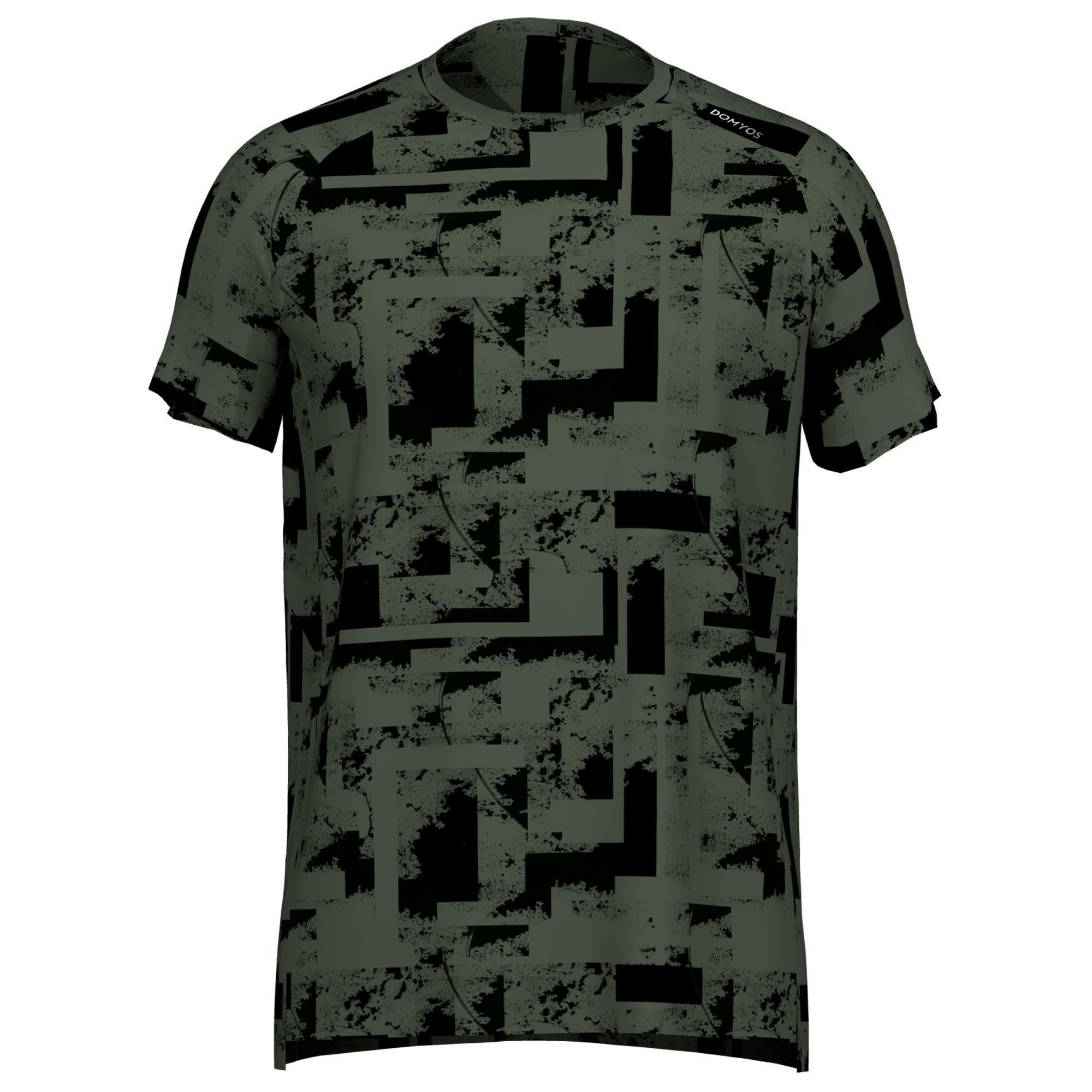Domyos Fitness shirt 120 voor heren, kaki met print