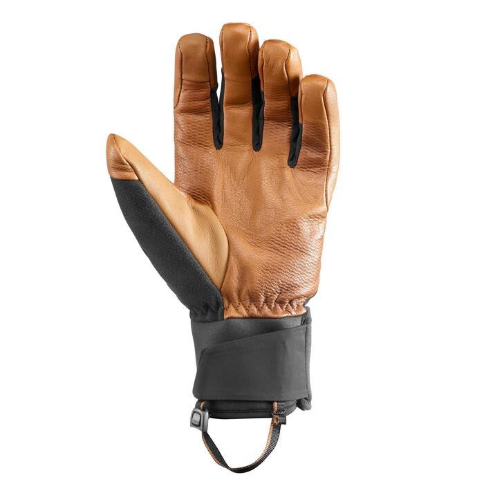 Waterdichte leren handschoenen voor bergtrekking volwassenen Trek 900 bruin