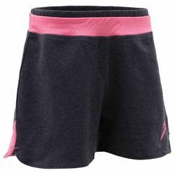 Gymshort 500 voor meisjes grijs roze met print