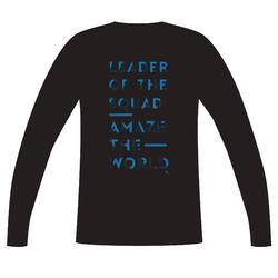 T-shirt met lange mouwen 100 jongens GYM KINDEREN zwart met print