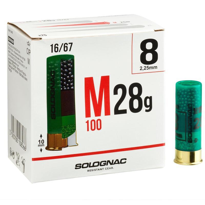 CARTOUCHE M100 CALIBRE 16/67 28G PLOMB N°8 X25