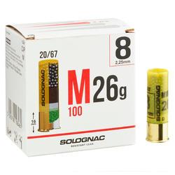 CARTUCHO DE CAÇA M100 CALIBRE 20/67 26G CHUMBO N° 8 x25