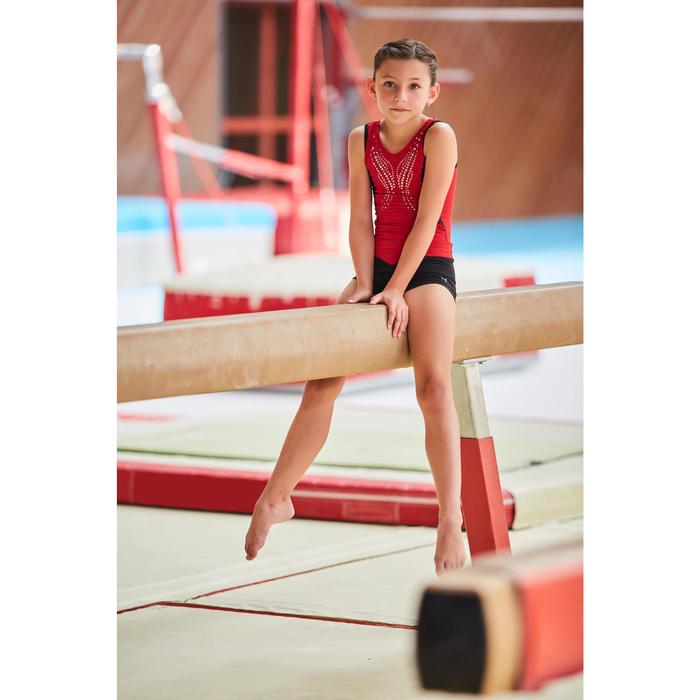 Gymnastikanzug Turnanzug ärmellos Pailletten rot