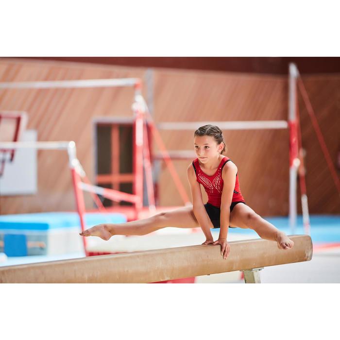 Short de gimnasia artística femenina cinturón rojo lentejuelas