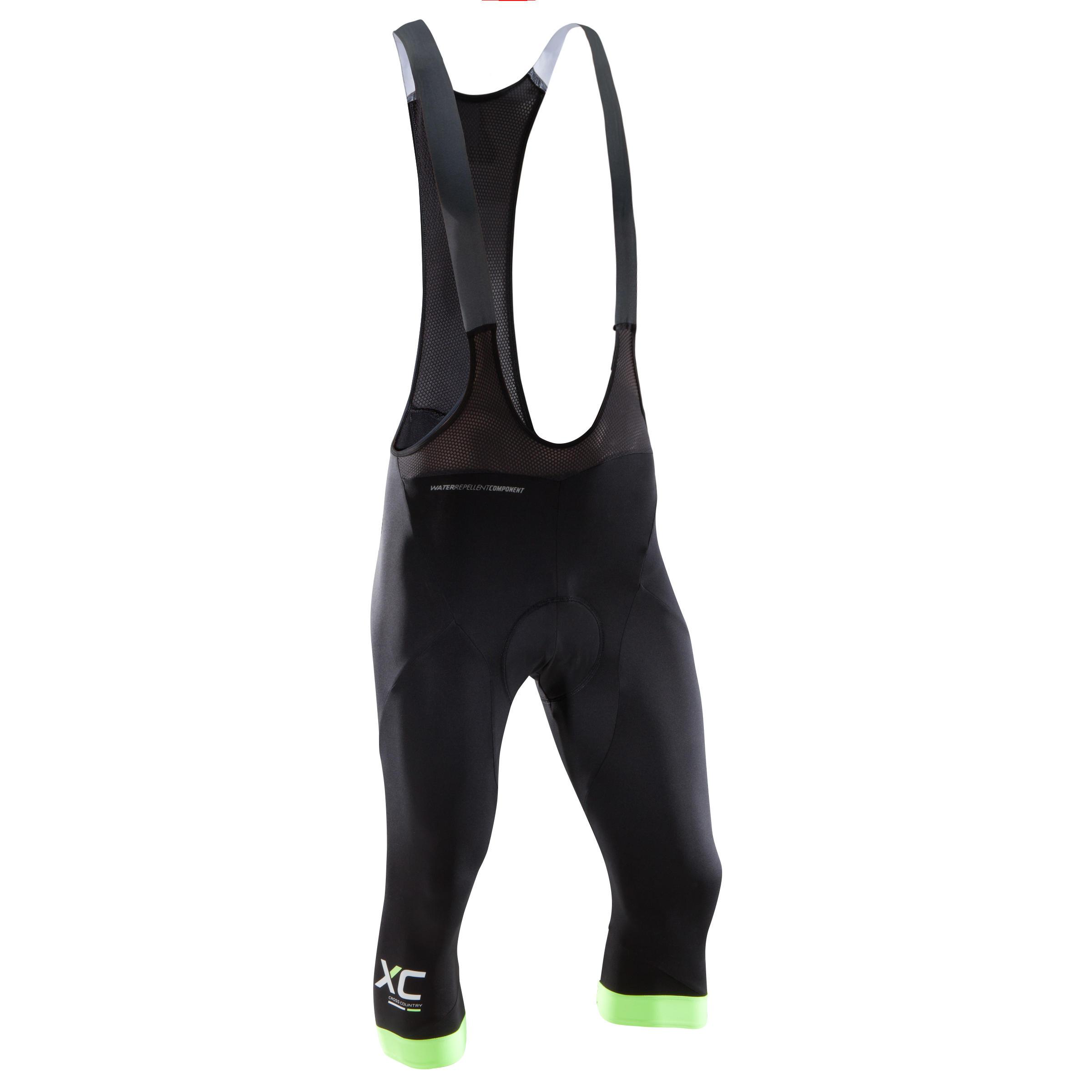 Rockrider Driekwartbroek voor XC mountainbiken met bretels zwart/fluo kopen