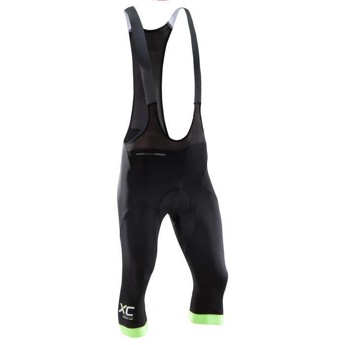 Driekwartbroek voor XC mountainbiken met bretels zwart/fluo