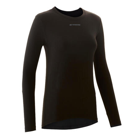 100 Women's Long-Sleeved Cycling Base Layer - Black