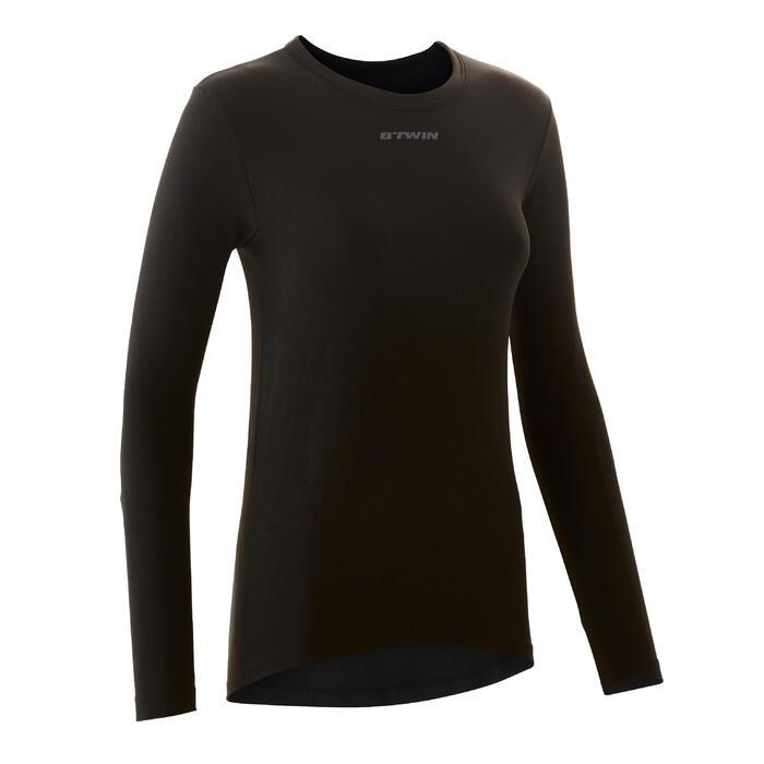 Fietsondershirt met lange mouwen voor dames 100 zwart