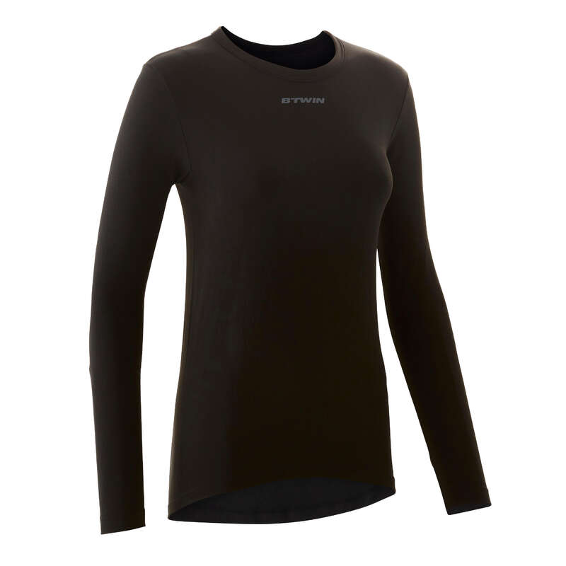 W COLD WEATHER ROAD CYCLING BASELAYER Clothing - RC 100 Women's Long Sleeve Cycling Base Layer - Black TRIBAN - By Sport