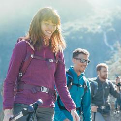 Fleecepullover Bergwandern MH100 Damen grau gestreift