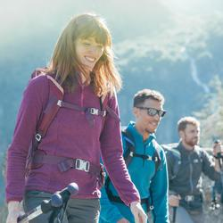 Forro polar de senderismo montaña mujer MH100 Violeta Rayas