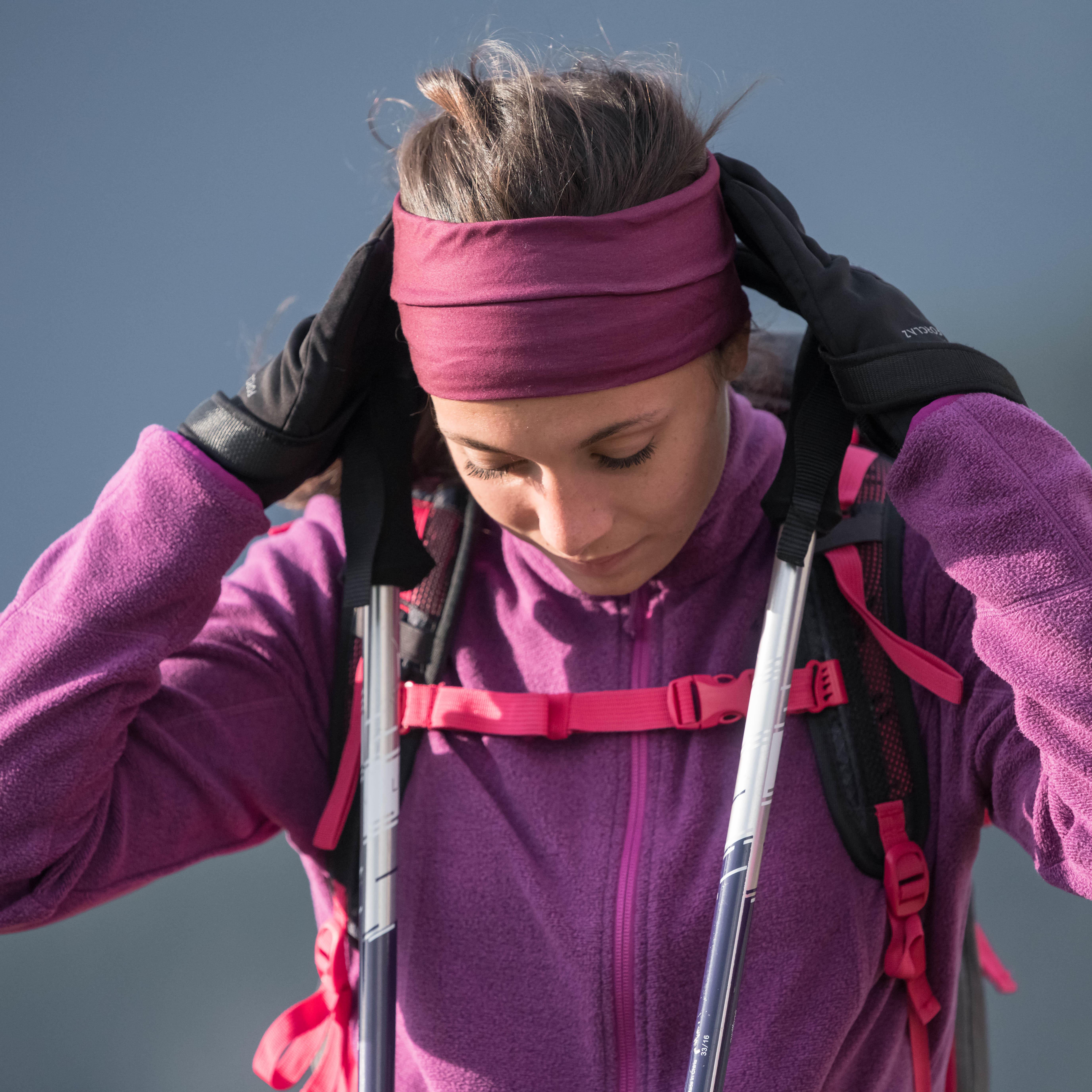 Women's MH120 red mountain hiking fleece jacket