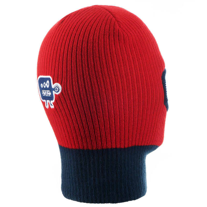 KID'S KNITTED SKIING BALACLAVA RED BLUE