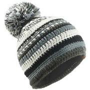 Črna, siva in bela smučarska kapa MIXYARN