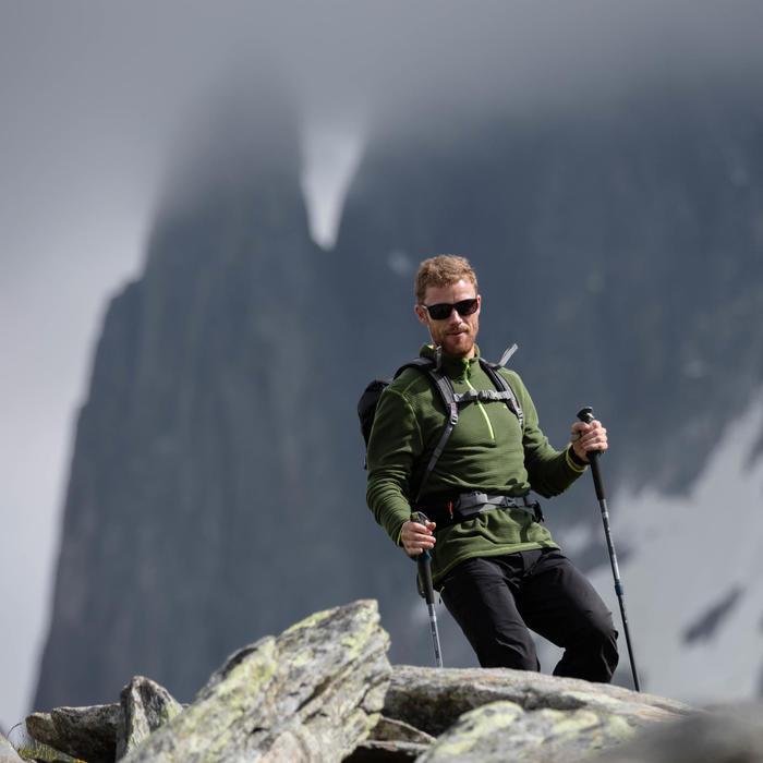 Fleecepullover Bergwandern MH500 Herren weinrot
