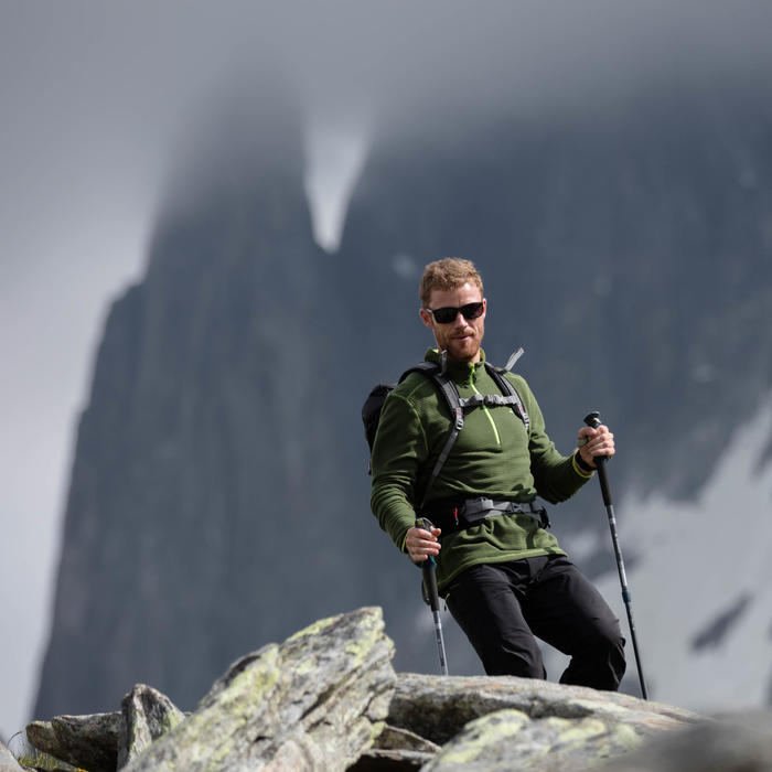 Polaire de randonnée montagne homme MH500 Vert Kaki