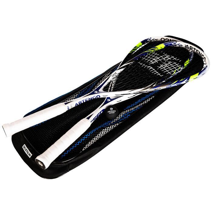 Set squashracket SR 560 Club (2 rackets, bal met rode stip en tas)