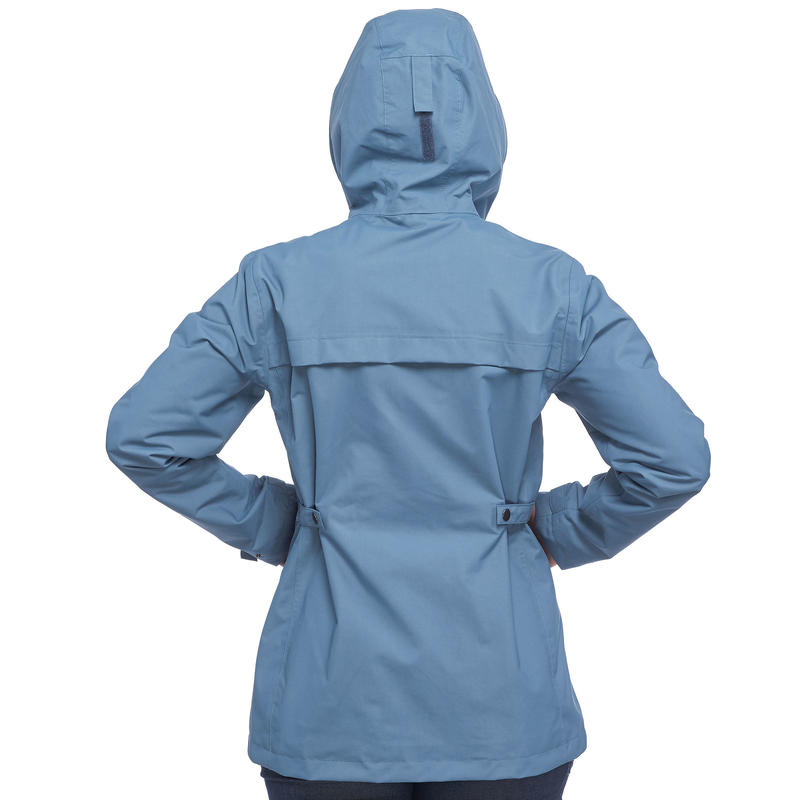 Women's blue 3 in 1 trekking travel jacket TRAVEL 100