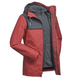 Men's Travel Trekking 3in1 Jacket TRAVEL 100 - Red