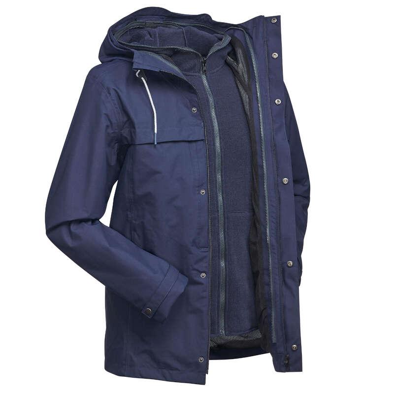 MEN 3 IN 1 JACKETS TRAVEL TREK Trekking - Travel 100 3-in-1 Men's Waterproof Jacket - Blue FORCLAZ - Trekking