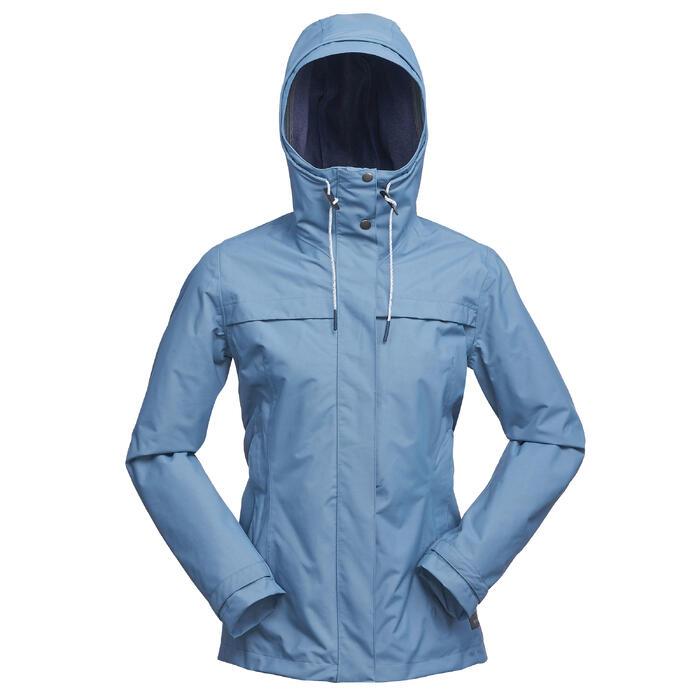 Chaqueta 3en1 trekking viaje TRAVEL 100 mujer azul