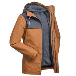 Men's Travel Trekking 3in1 Jacket TRAVEL 100 - Camel