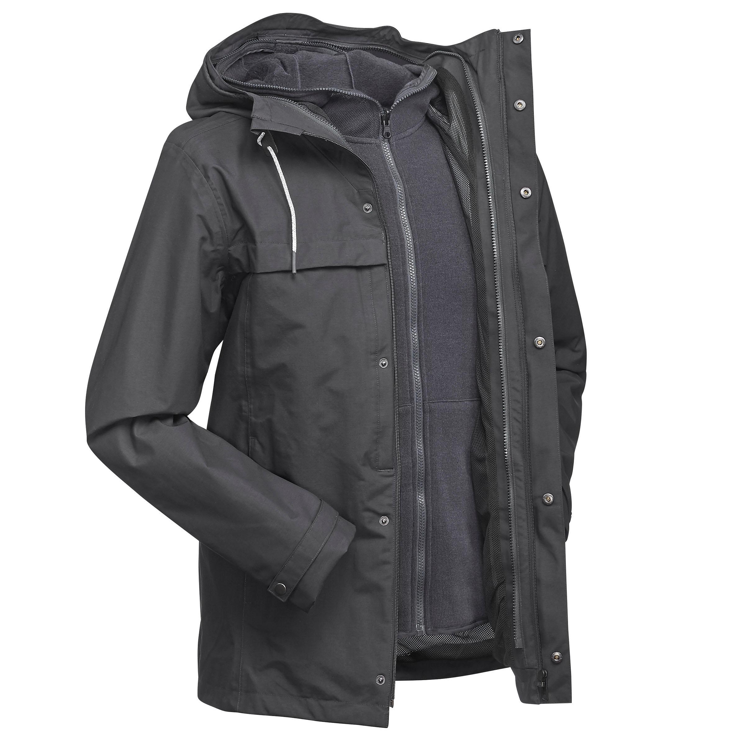 Travel 100 Men's 3-in-1 Trekking Travel Jacket - Grey