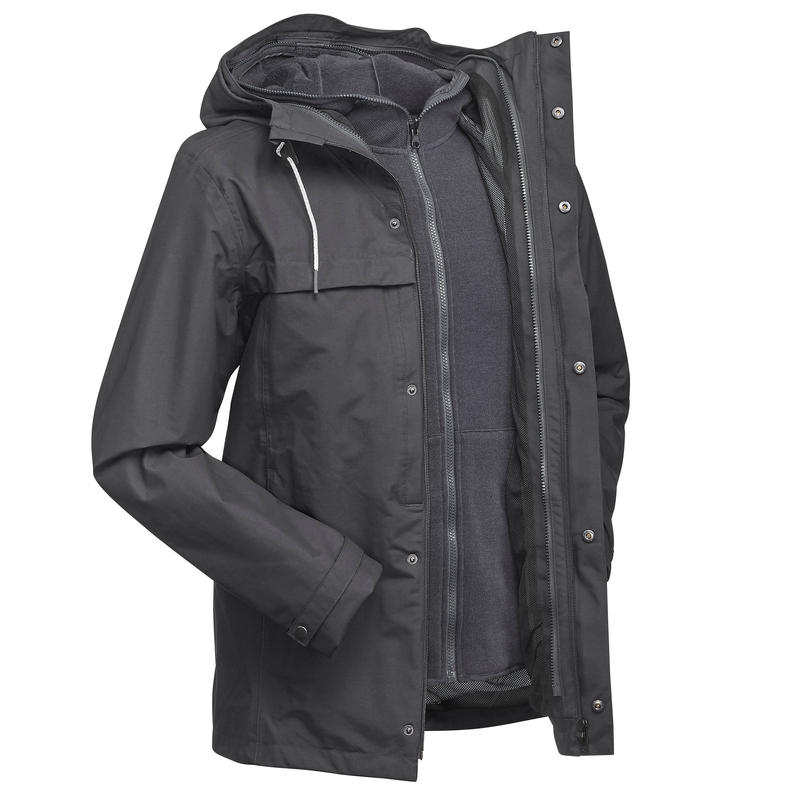 6e0921f02 All Sports>Hiking and Trekking>Backpacking>Travel Jacket>Men's 3in1  Waterproof Travel Jacket Travel 100 - Grey