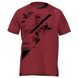 Fitness shirt FTS 500 voor heren, bordeaux met print