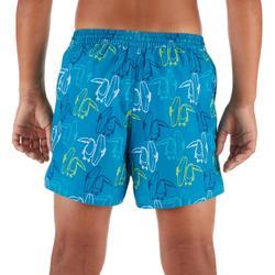 兒童款短版衝浪海灘褲100-淺碧藍色及大嘴鳥款