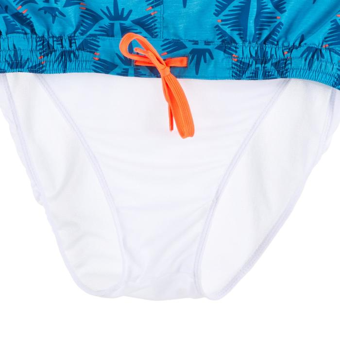 短版衝浪海灘褲100-民族風淺碧藍色