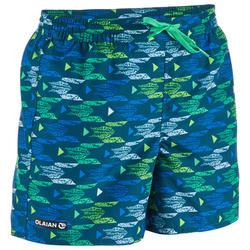 Korte boardshort voor kinderen 100 Pacific turquoise
