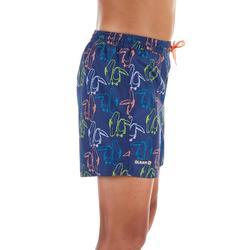 兒童款衝浪短褲100-藍色/大嘴鳥圖款