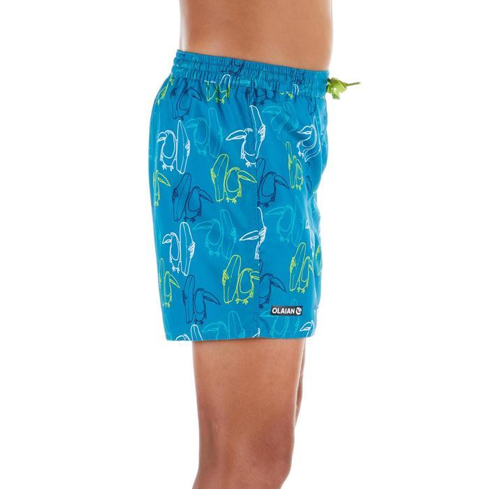 Kurze Boardshorts Surfen 100 Toukan Kinder blau mit Print