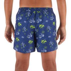 兒童款短版衝浪海灘褲100-藍色及棕櫚樹款