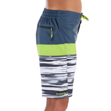 500 Tween Long Surfing Boardshorts - Subsea Green