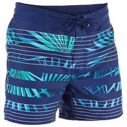 Kurze Boardshorts Surfen 500 Tween Palme Kinder blau mit Print