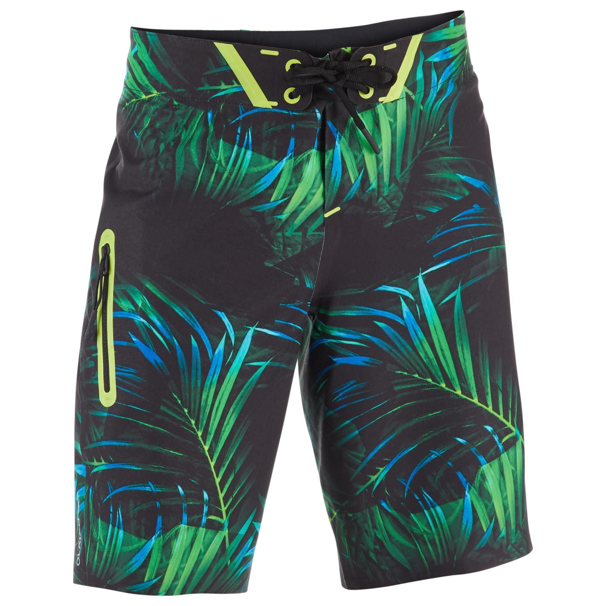 Olaian Surf boardshort lang 900 Tween Neon Palm Green