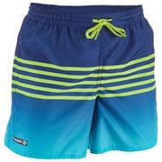Zelene plavalne kratke hlače s črtami 100 za otroke