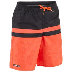 100 Tween Long Surfing Boardshorts - Square Red