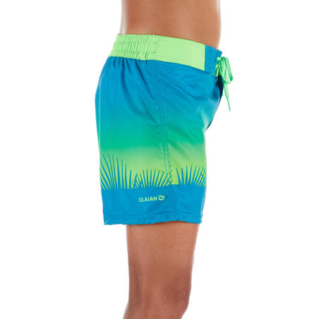 500 Kids' Short Surfing Boardshorts - Tropy Green