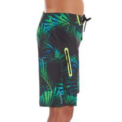 Lange Boardshorts Surfen 900 Tween Neon Palme Kinder grün