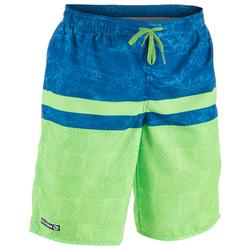100 Tween Long Surfing Boardshorts - Square Green