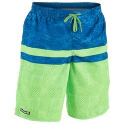 Lange Boardshorts Surfen 100 Tween Square Kinder grün/blau