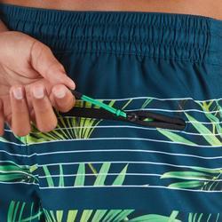 Boardshorts kurz Surfen 500 Tween Palme Kinder grün
