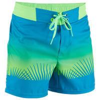 500 Kids' Short Surfing Boardshorts - Tropy Green
