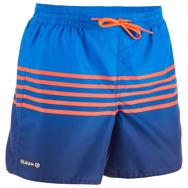 BOY'S BOARDSHORTS Swimwear and Beachwear - BBS 100 Kids' - Stripy Red OLAIAN - Swimwear and Beachwear