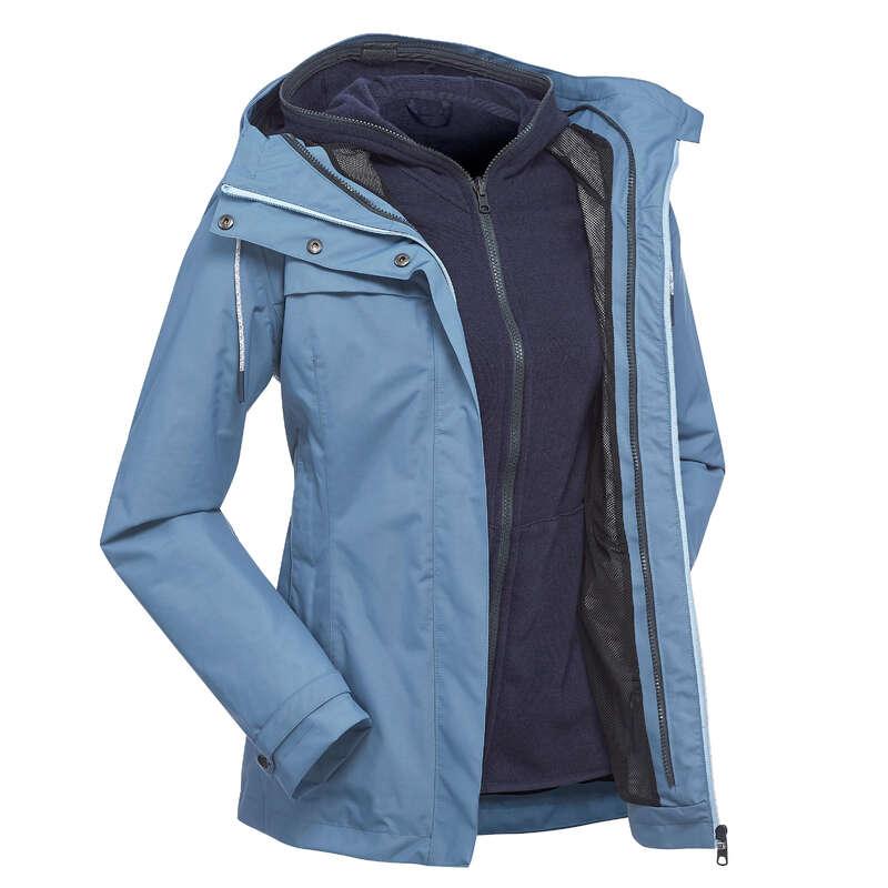 WOMEN 3 IN 1 JACKETS TRAVEL TREK Trekking - Travel 100 3-in-1 Women's Waterproof Jacket - Blue FORCLAZ - Trekking