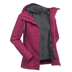 Women's pink 3 in 1 trekking travel jacket TRAVEL 100