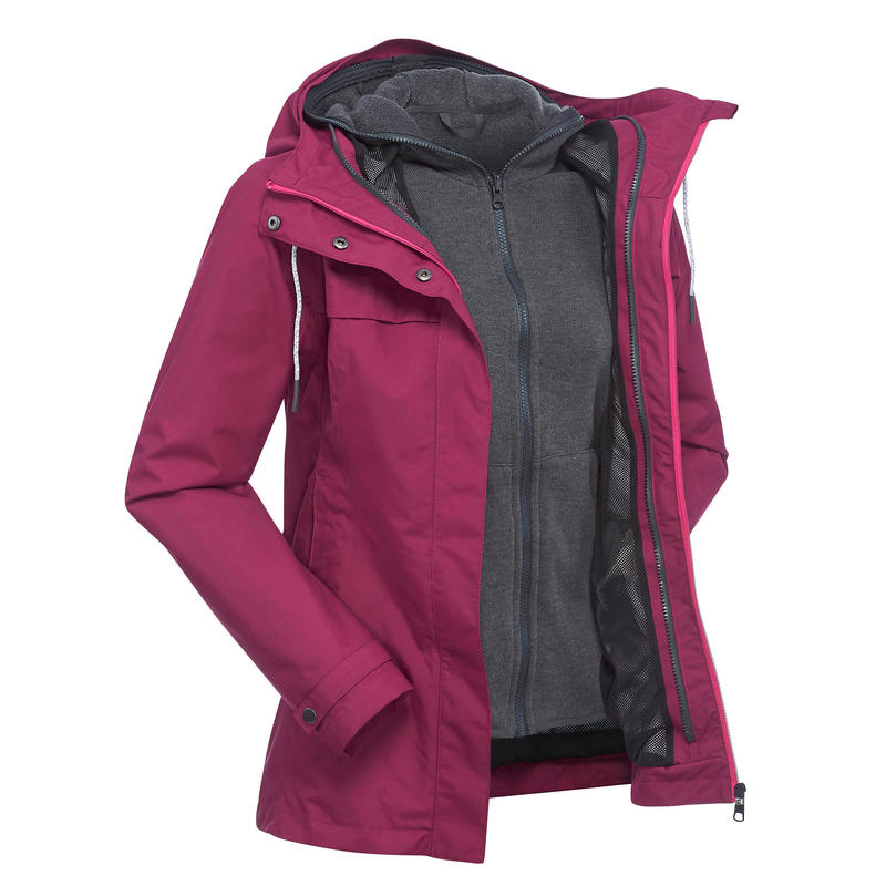 Women's Travel Trekking 3in1 Jacket TRAVEL 100 - Pink
